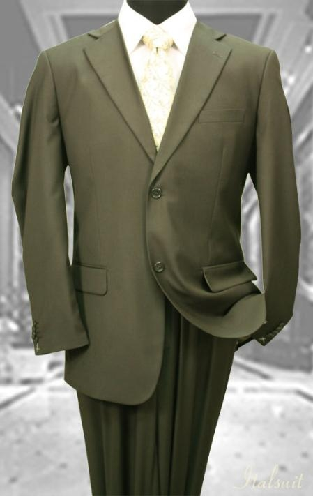 SKU#VM643 Mens Solid Color Olive 2 Button Wool 2PC Suit $175
