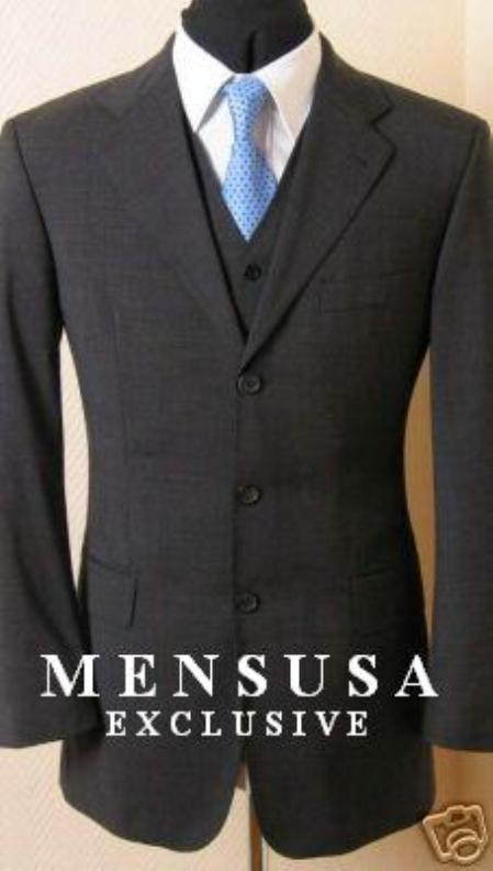 Mens Solid Dark Charcoal Gray Vested Super 140s Wool Vergin Marino Wool feel Poly~Rayon Vented