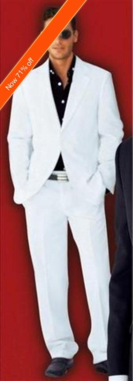 SKU#FM8866 Mens Suit 2-Button White Suit + Black Shirt