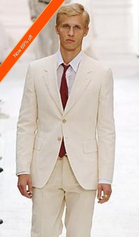 SKU#VD3923 Mens Suit 2-Button Ivory Off White Jacket and Pants