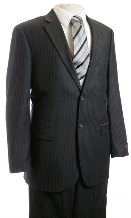 SKU#NH2340 Mens Suit Charcoal Stripe ~ Pinstripe Affordable Suit Online Sale