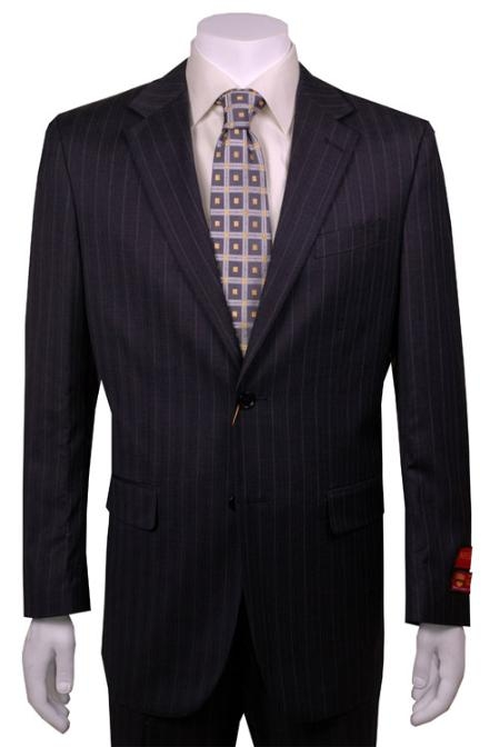 SKU#JH222 Mens Suit Charcoal Stripe ~ Pinstripe 2 Button Vented Wool without pleat flat front Pants