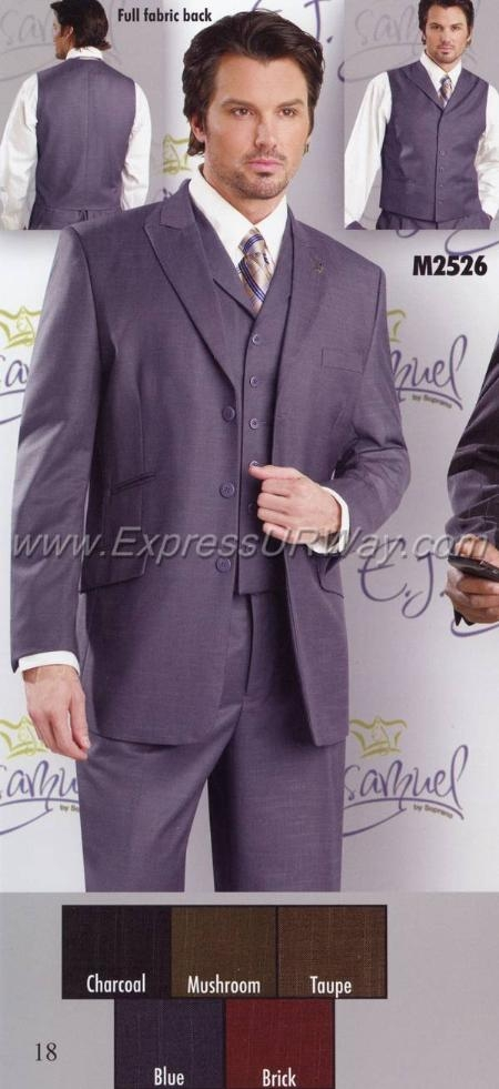 SKU#DX3880 Mens Suit EJ Samuel  - Charcoal $149
