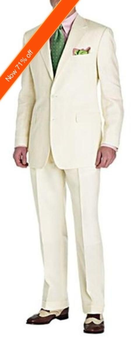 SKU#ND7722 Mens Suit Ivory 2-Button Style Perfect For Wedding + Free Tie