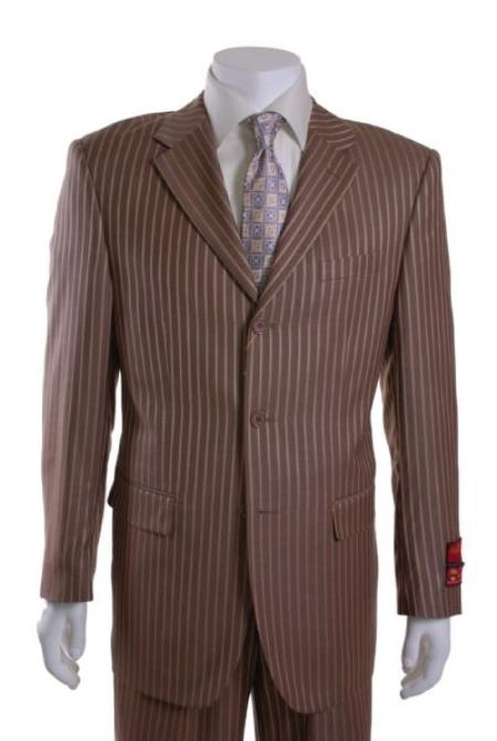 SKU#EQ912 Mens Suit Light Brown with Wide Stripes 3 Button Vented 1 Pleat Wool Suit $295