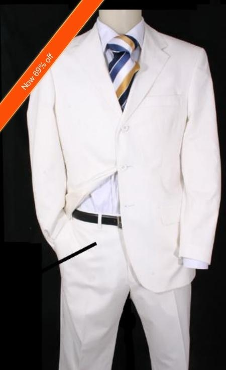 SKU#NQ9322 Mens Suit Snow White 3-Button Suit + Free Tie $139