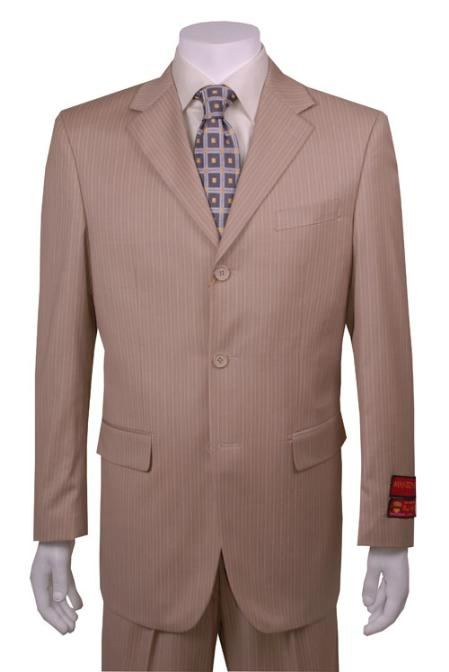 SKU#RH916 Mens Suit Tan Multi Stripe 3 Button Vented Wool with 1 Pleated Pants $139