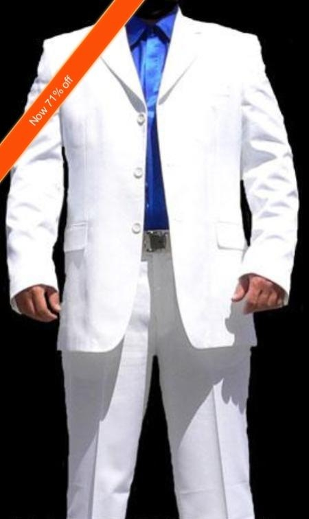Mens Suit White 3button Cool Suit + Free Tie