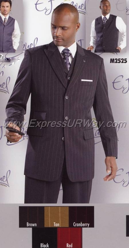 SKU#VS2468 Mens Suit and Vest - Black $149