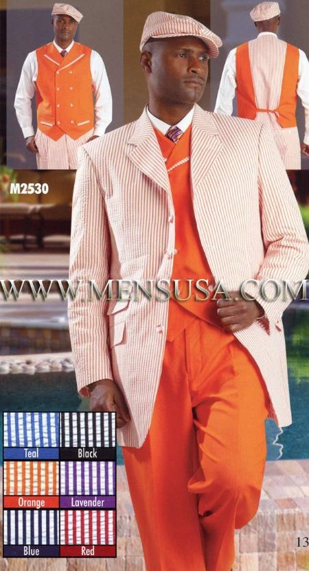 SKU#AM2039 Mens Suits EJ Samuel Orange $199