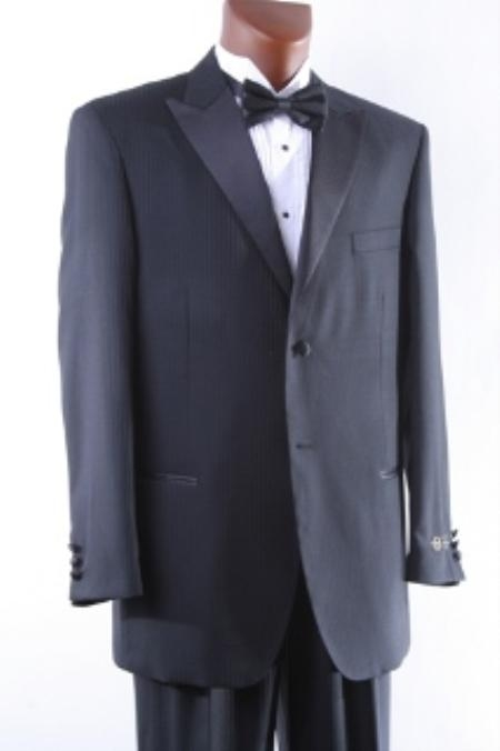 SKU#TV6467 Mens Super 150s 2 Button Black Tonal Stripe Tuxedo $179