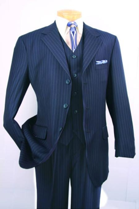 SKU#T63TRS Mens Super 150s Luxurious Fashion three piece suit Classic Navy Blue Stripe Design $139