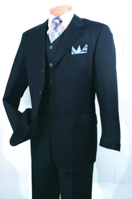 SKU#RN530 Mens Super 150s Luxurious Fashion three piece suit Navy $139