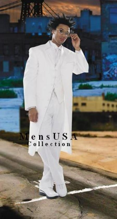 SKU# SKQ850 Mens Super Stylish Long Pure White Fashion Dress Zoot suit 38 Inch Long Vested $149