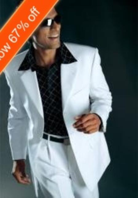 SKU#BF4033 Mens White Suit All Year Around 3 Button Suit