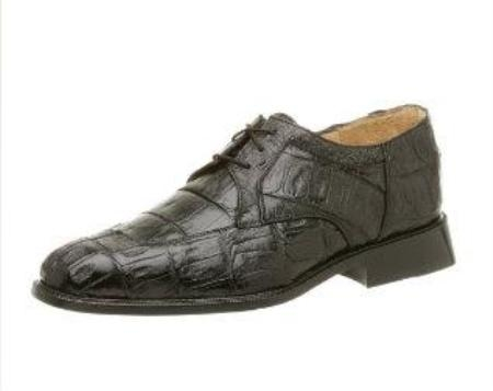 Belvedere Mens Susa Oxford Made of Crocodile ~ Alligator  with Ostrich Trim Black $489