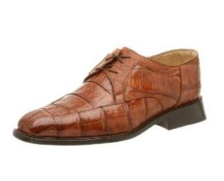 Belvedere Mens Susa Oxford Made of Crocodile with Ostrich Trim Brown $399