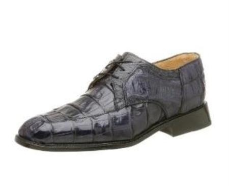 Belvedere Mens Susa Oxford Made of Crocodile with Ostrich Trim Navy $419