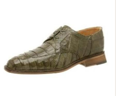 Belvedere Mens Susa Oxford Made of Crocodile with Ostrich Trim Olive $419
