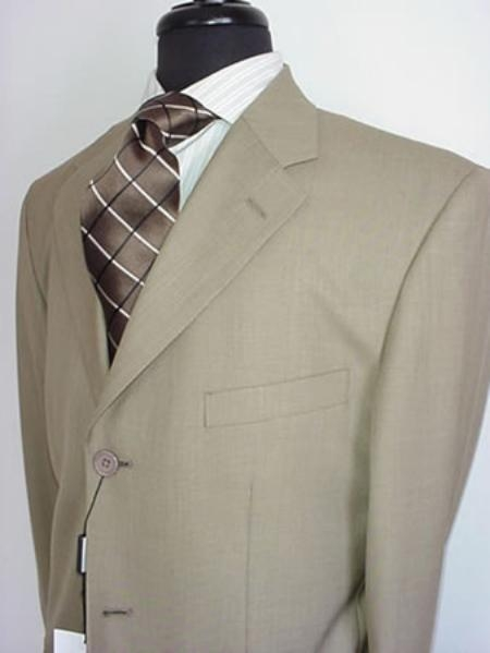 SKU#VIN_3PP Mens Tan ~ Beige~Stone~Beige Mens Single Breasted Discount Dress 3 Button Cheap Suit $99