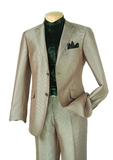 SKU#DK8477 Mens Taupe Single Breasted 2 Button Suit $139
