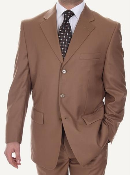 SKU#DL3646 Mens Three Button Suits Biani Ferrecci Taupe $109