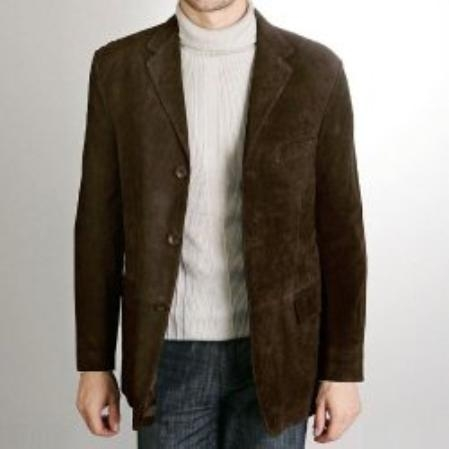 SKU#AS827 Mens Three-Button Suede Leather Blazer $129