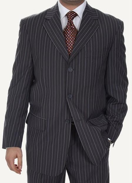 SKU#WP1975 Mens Three Button Suits Biani Ferrecci BRN / WHITE Stripes $139