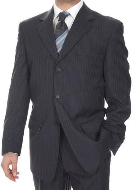 SKU#QM9479 Mens Three Button Suits Biani Ferrecci Black $139
