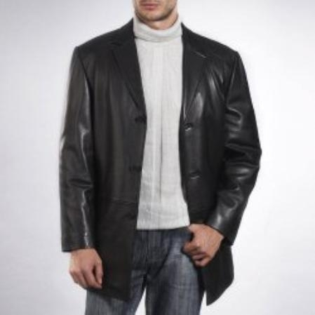SKU#LC771 Mens Three-Button New Zealand Lambskin Car Coat $337