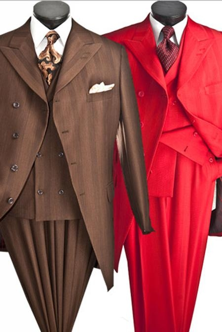 SKU#AL717 Mens Three Piece Four Button Suit $139