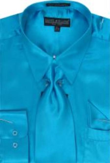 SKU#KK123 Mens Turquiose Shiny Silky Satin Dress Shirt/Tie