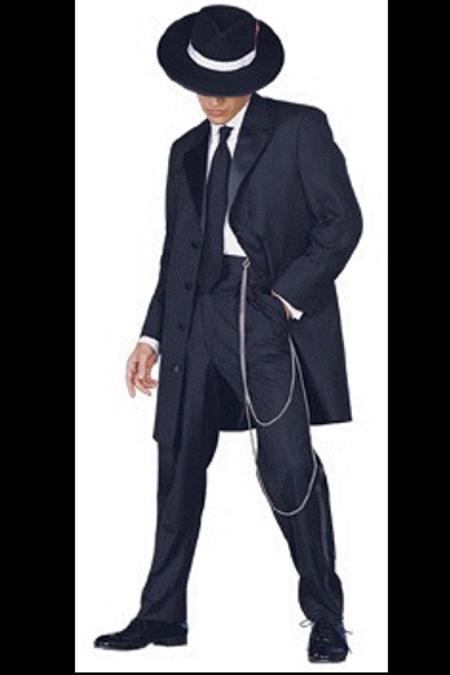 SKU# JOSMU-106 Men's Tuxedo Fashion Formal Black Longer Fashion Zoot Suit