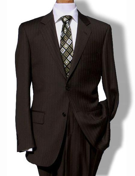 SKU#KL9977 Mens Two Button Brown Pinstripe Suit $139