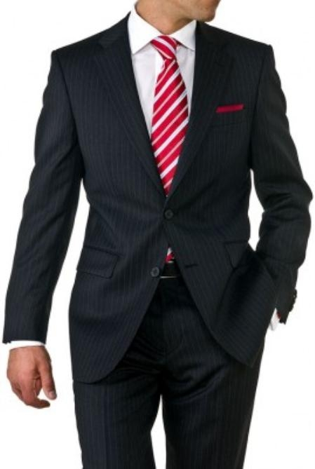 SKU#EV1942 Mens Two Button Black Pinstripe Suit $119