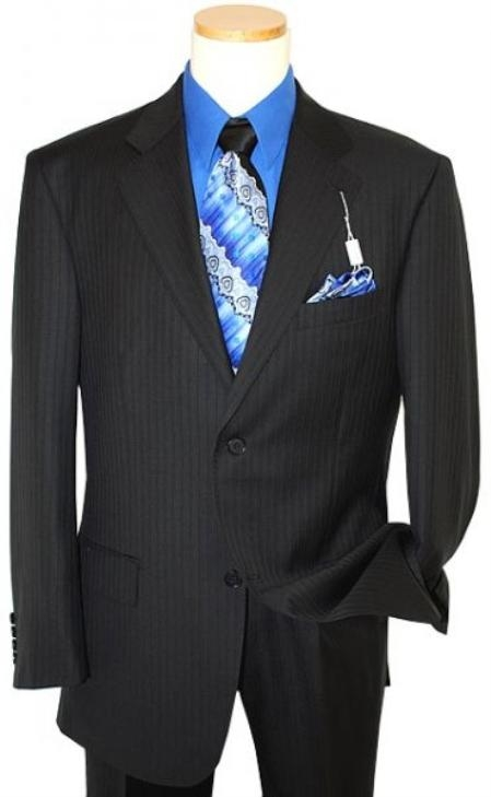 SKU#NQ3567 Mens Two Button Black Shadow tone on tone Stripe ~ Pinstripe Suit
