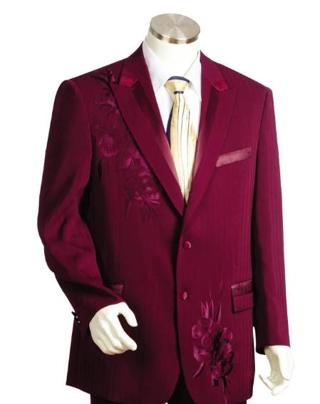 SKU#KK5415 Mens Two Button Suits Wine $199