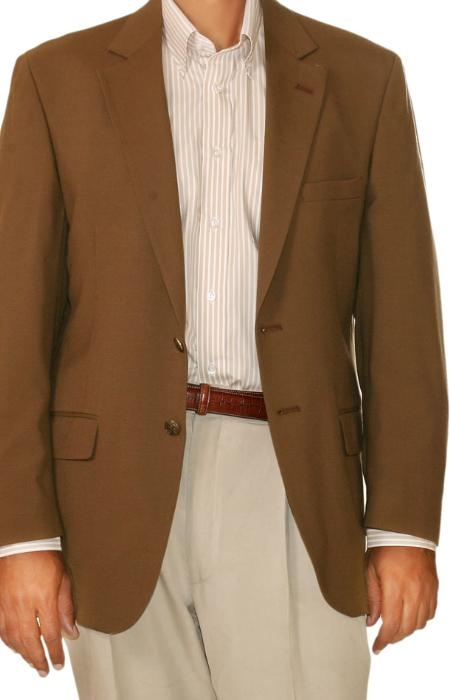 SKU#OP0375 Mens Two Button Blazer Brown