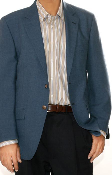 SKU#NB2569 Mens Two Button Blazer Charcoal Blue (Men + Women)
