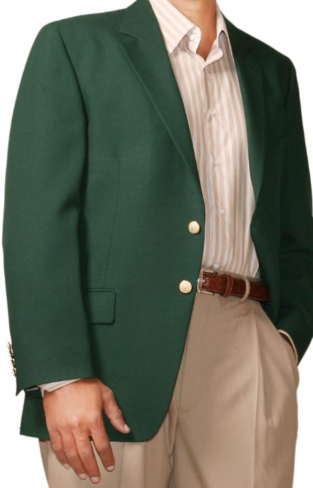 SKU#HL9643 Mens Two Button Blazer Hunter Green (Men + Women) $175
