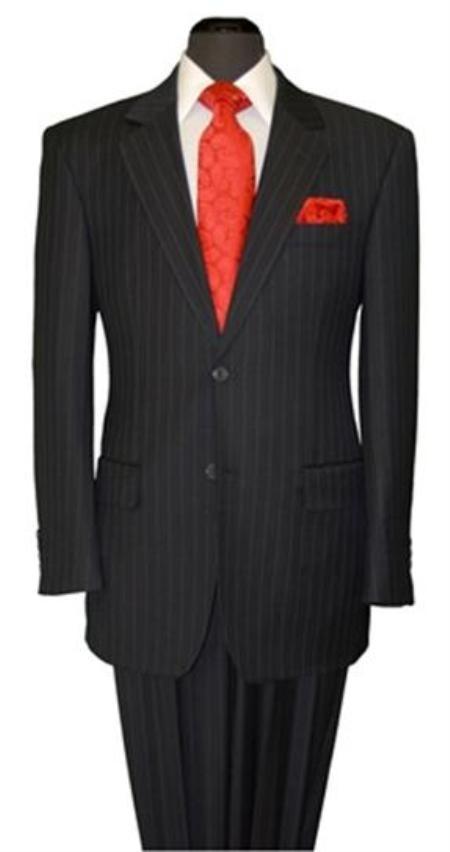 SKU#YV9011 Mens Two Button Black Stripe ~ Pinstripe Suit