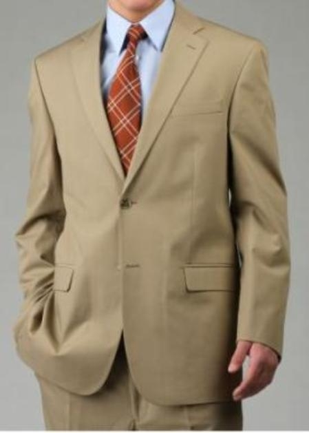 SKU#PS9822 Mens Two Button Suit - Camel ~ Khaki