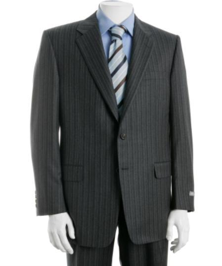SKU#SM9222 Mens Two Button Charcoal Gray Multi Stripe Suit $119