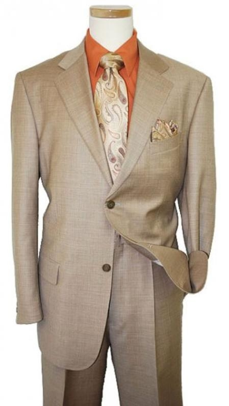 SKU#UP2938 Mens Two Button Dark Tan ~ Beige Coffee Suit $119