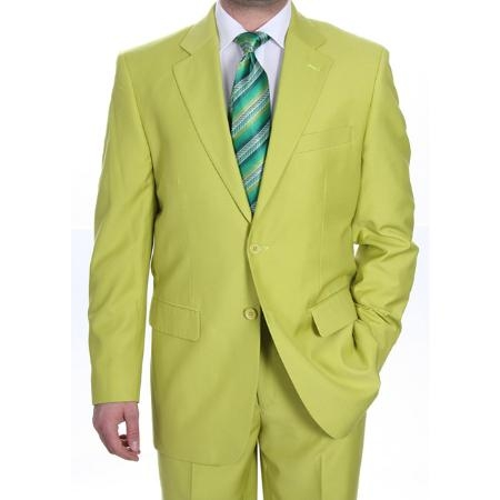 SKU#GN8921 Mens Two Button Suit - Bright Neon Green~Kiwi~Celery $139