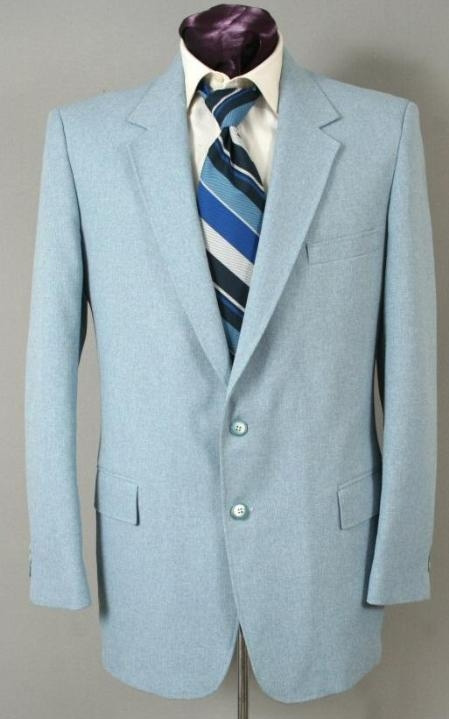 SKU#BM8692 Mens Two Button Suit - Light Blue ~ Sky Blue (Baby Blue)