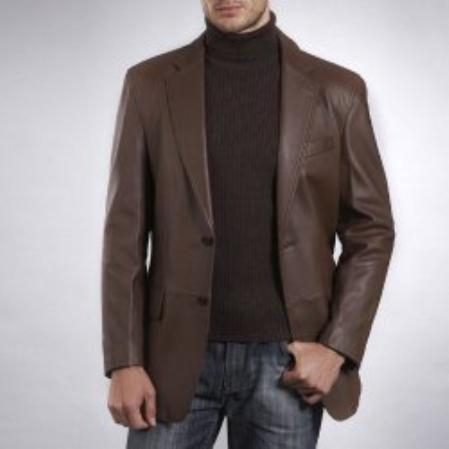 SKU#LS123 Mens Two-Button New Zealand Lambskin Leather Blazer $272