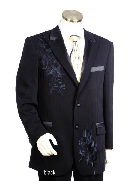 SKU#HJ1561 Mens Two Button Suits Black