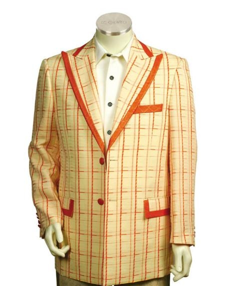 SKU#YN5554 Mens Two Button Trimmed Two Tone Blazer/Suit/Tuxedo Peach Orange