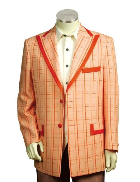 SKU#JH6665 Mens Two Button Trimmed Two Tone Blazer/Suit/Tuxedo Peach